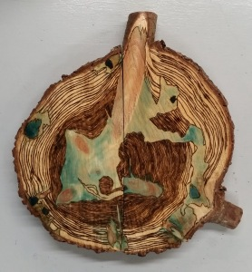 "Untitled, 2015 Burned & Stained Wood Approx. 30"" in diameter Approx. 2"" deep"